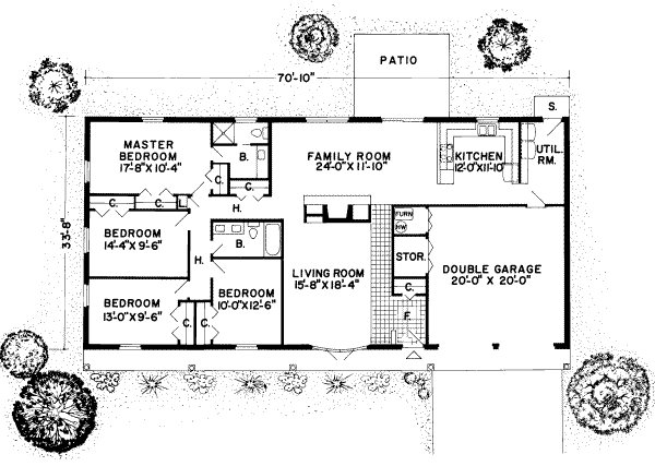 Best Ranch Style House Plan 4 Beds 2 00 Baths 1954 Sq Ft Plan With Pictures