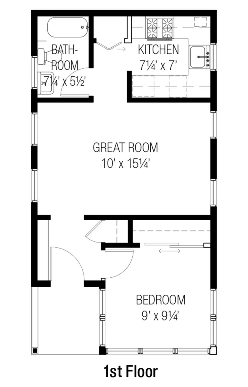 Best Cottage Style House Plan 1 Beds 1 00 Baths 461 Sq Ft With Pictures
