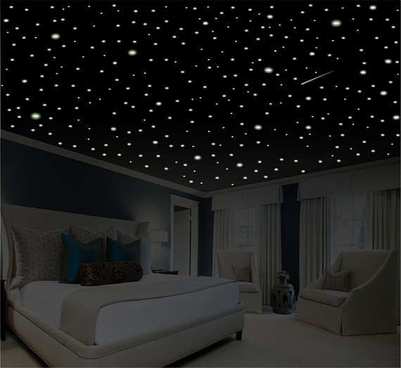 Best Romantic Bedroom Decor Star Wall Decal Glow In The Dark With Pictures