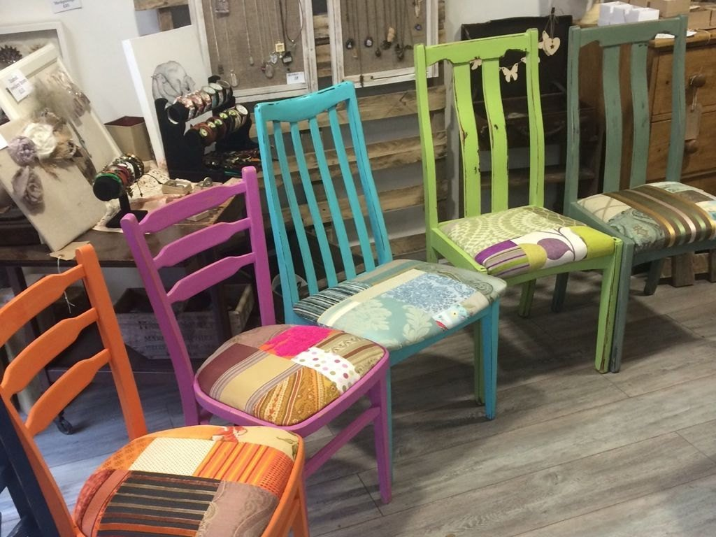 Best Bright Painted Colourful Patchwork Chairs Multicoloured With Pictures