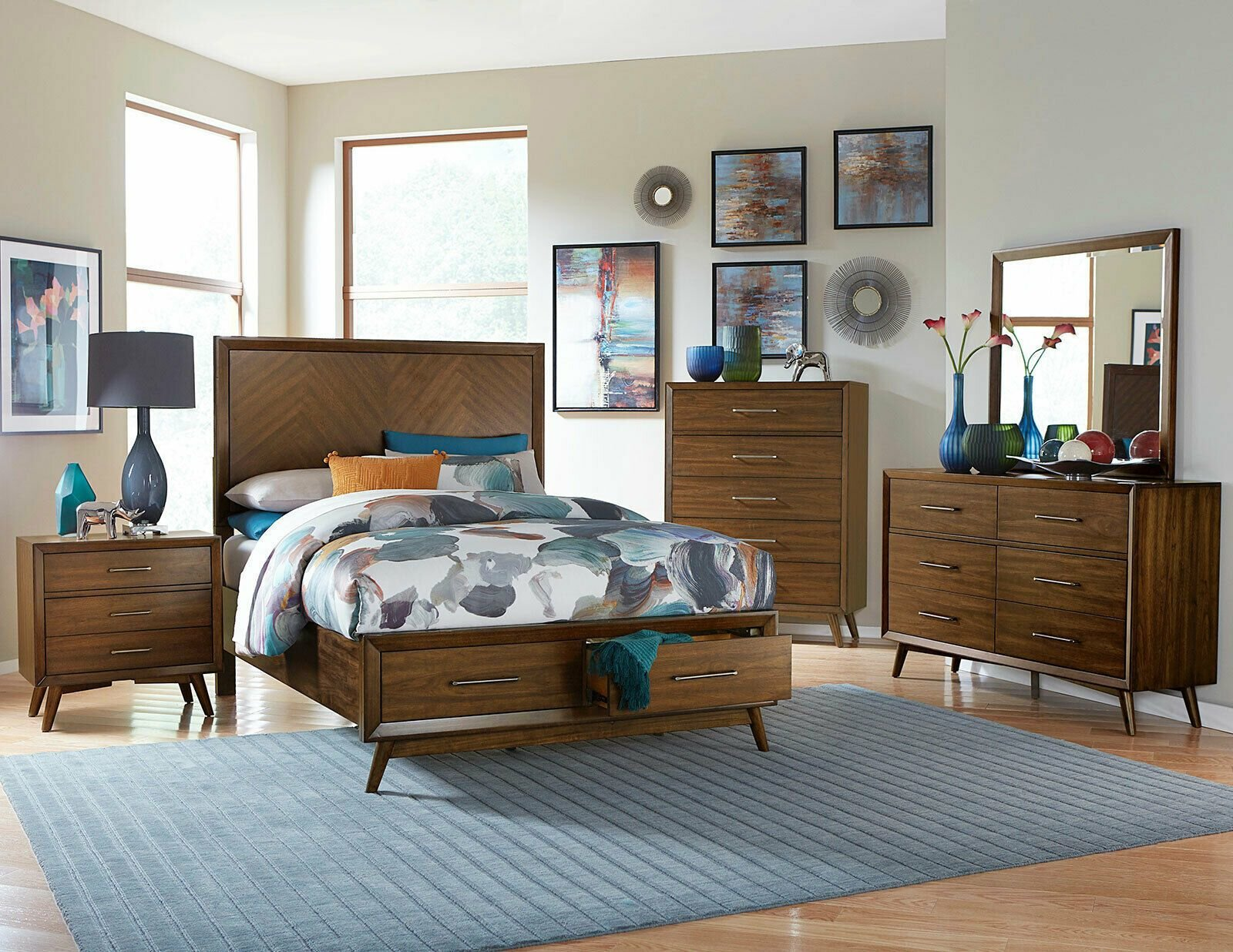 Best Westwood Scandinavian Brown Finish 5 Piece Bedroom Set W With Pictures