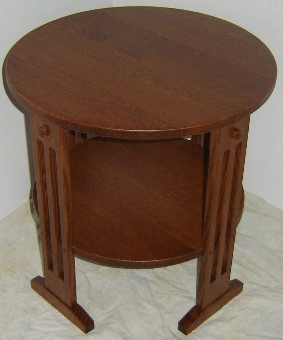Best Hand Crafted New Mission Style Solid Quarter Sawn Red Oak Wood Round Bedside Bedroom Living With Pictures