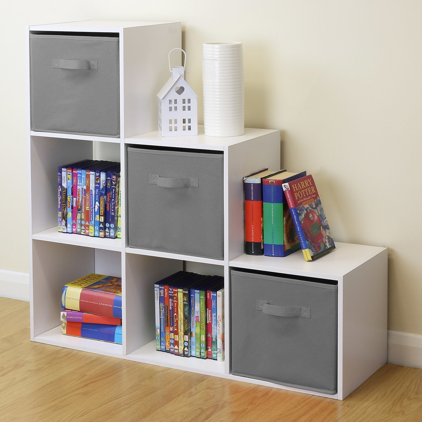 Best White 6 Cube Kids Toy Games Storage Unit Girls Boys Bedroom Shelves 3 Grey Boxes 5051990731240 With Pictures