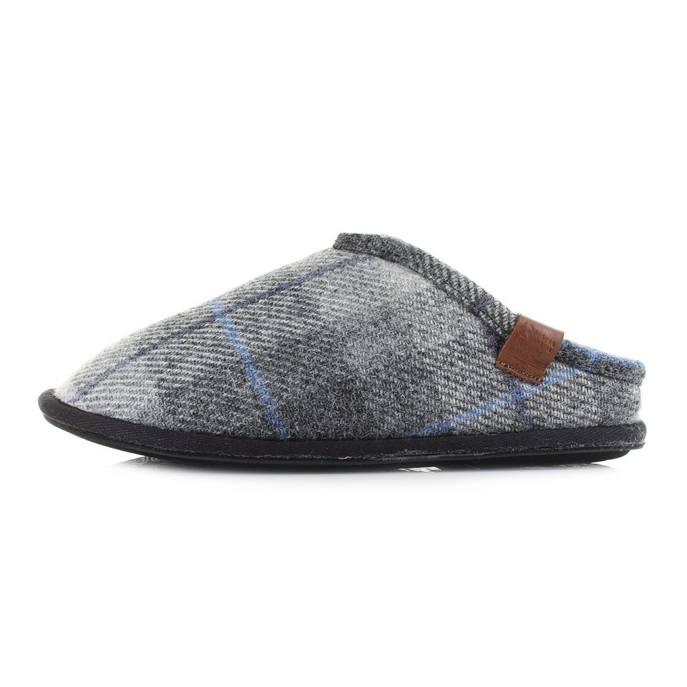 Best Mens Bedroom Athletic William Grey Charcoal Check Harris Tweed Slippers Shu Size Ebay With Pictures
