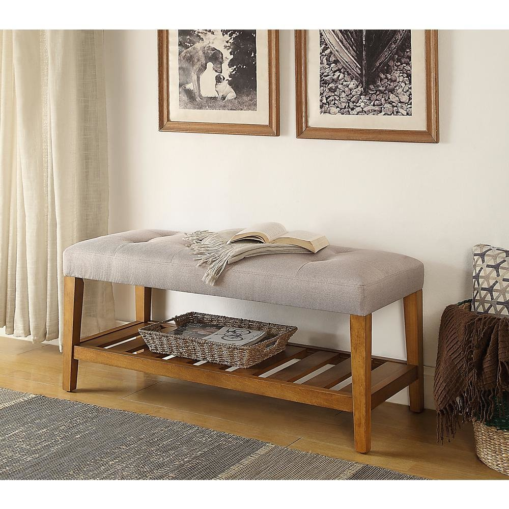 Best Acme Furniture Charla Light Gray And Oak Storage Bench With Pictures