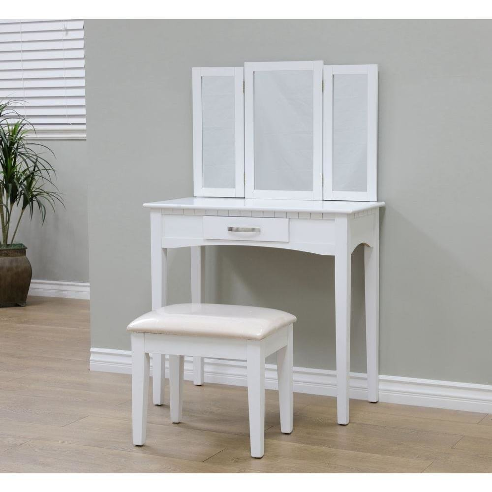 Best Megahome 3 Piece White Vanity Set Mh206 Wh The Home Depot With Pictures