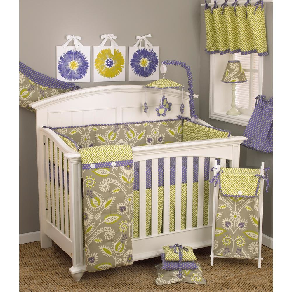 Best Cotton Tale Designs Periwinkle Floral 4 Piece Crib Bedding With Pictures
