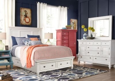 Best Belmar White 5 Pc King Panel Bedroom With Storage King With Pictures