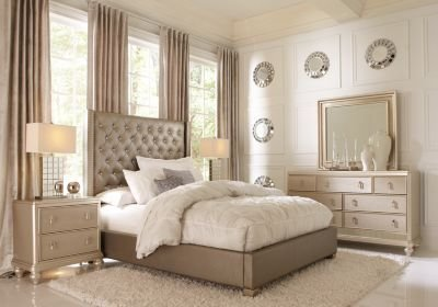 Best Sofia Vergara Paris Silver 5 Pc King Upholstered Bedroom King Bedroom Sets Colors With Pictures