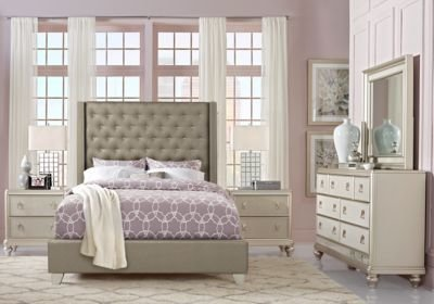 Best Sofia Vergara Paris Silver 5 Pc King Upholstered Bedroom With Pictures