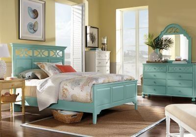 Best Cindy Crawford Home Seaside Blue Green Panel 7 Pc Queen With Pictures