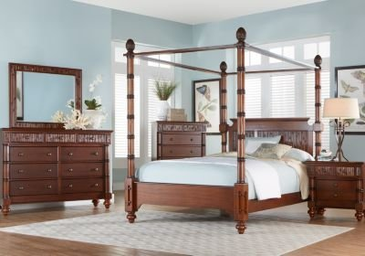 Best Key Royale Mahogany 5 Pc King Canopy Bedroom King With Pictures