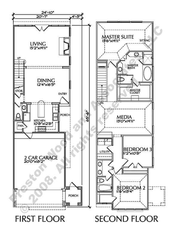 Best Two Story Townhouse Floor Plans Narrow Yahoo Image With Pictures