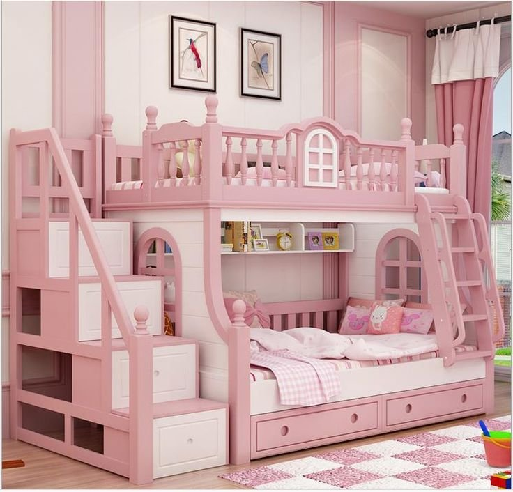 Best 1500 1900Mm Bunk Bed Pink Childern Bed Solid Wood Bady With Pictures