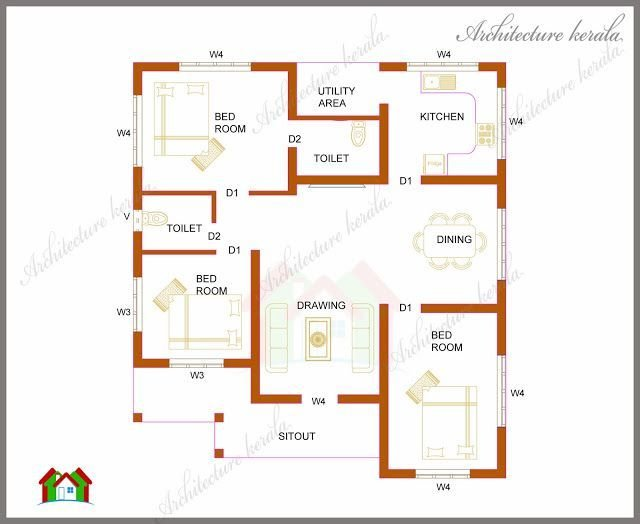 Best Architecture Kerala Three Bedrooms In 1200 Square Feet With Pictures