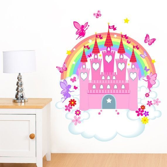 Best Fairy Castle Rainbow Flower Butterfly Girl S Mural With Pictures