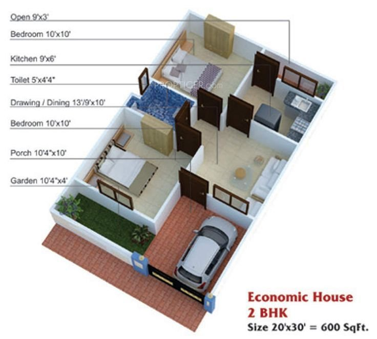 Best 600 Sq Ft House Plans 2 Bedroom Apartment Plans 20X30 With Pictures