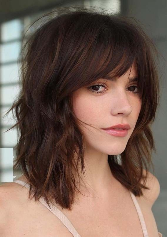 Free Ridiculous Medium Length Haircuts With Bangs In 2019 Wallpaper