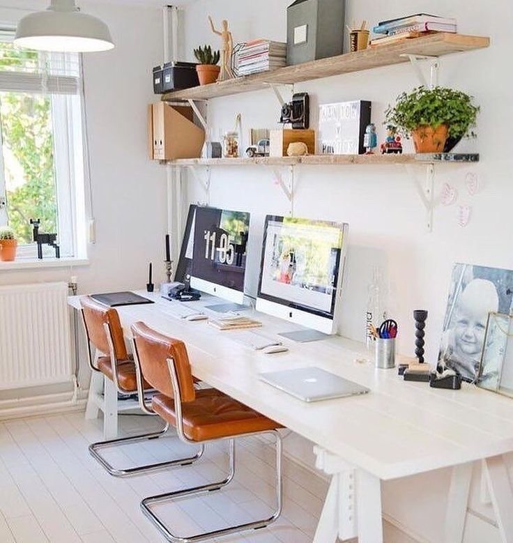 Best Two Desks Or One Long One Second Bedroom In 2019 Home Office Design Cozy Home Office With Pictures