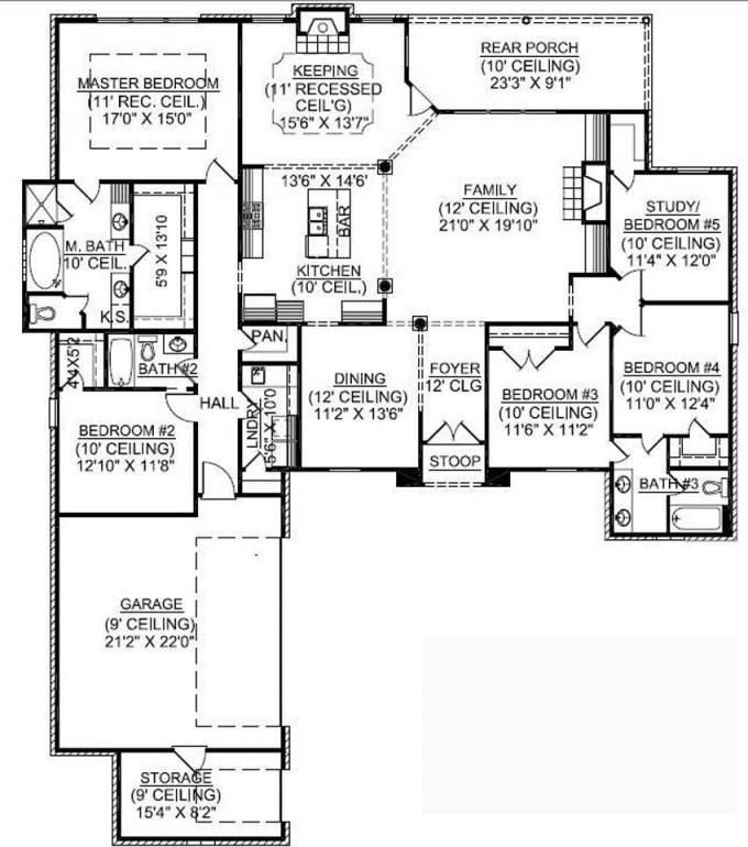 Best 653725 1 Story 5 Bedroom French Country House Plan With Pictures
