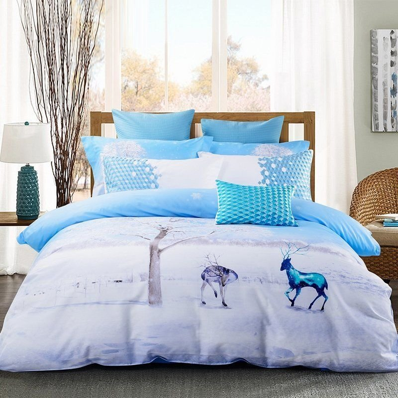 Best Ice Blue And White Animal Themed Deer Print Snowflake Country Chic Twin Full Queen Size With Pictures