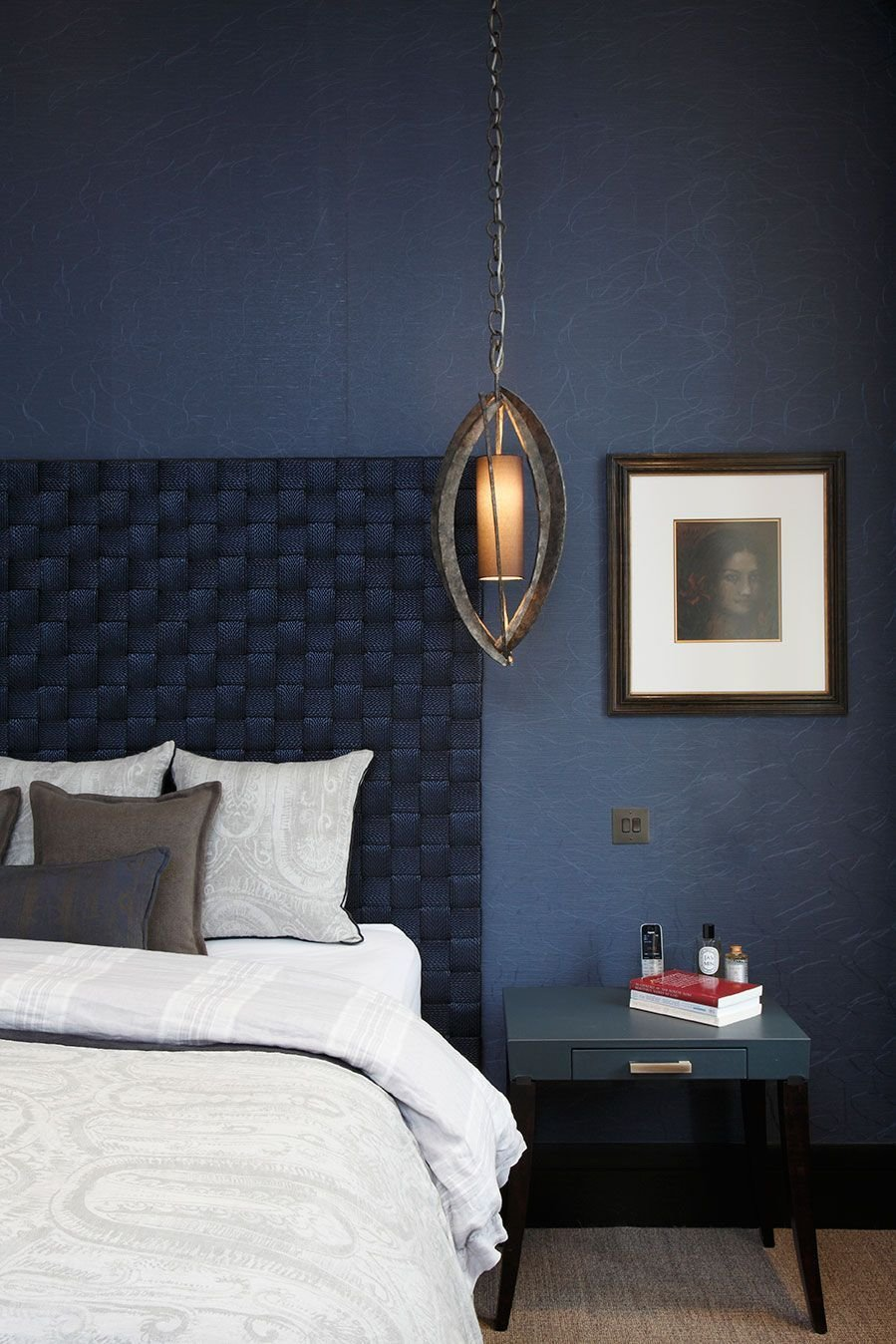 Best Appropriate Midnight Blue Bedroom With Woven Headboard With Pictures