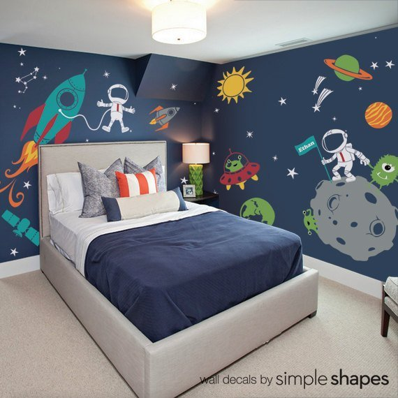 Best Outer Space Wall Decal Stars Planets Astronaut Rocket Ship Kids Wall Decals With Pictures