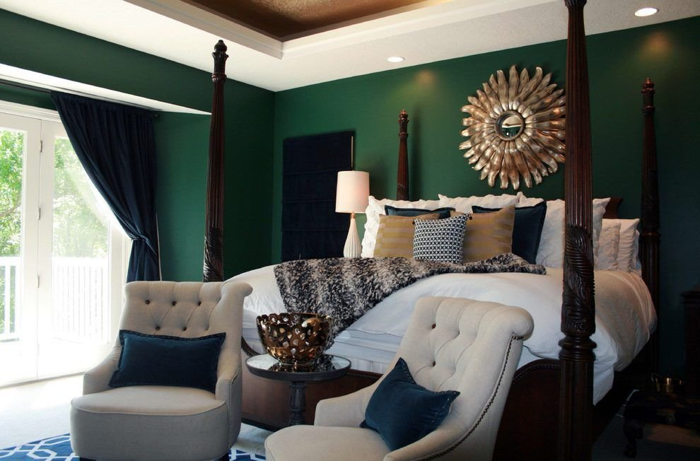 Best Emerald Green Bedroom Bedroom Transitional With White With Pictures