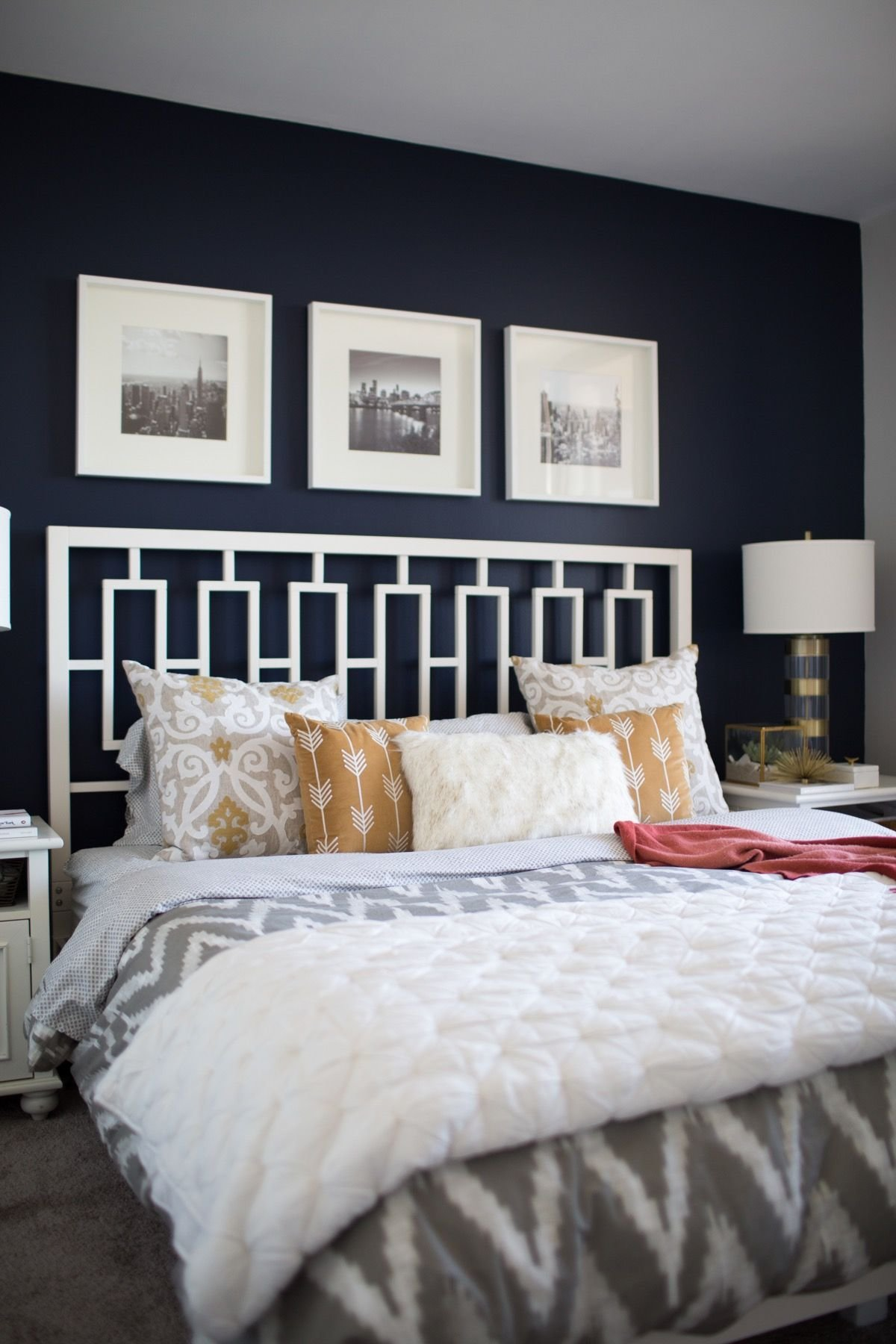 Best A Look Inside A Blogger S Navy And Mustard Bedroom For With Pictures