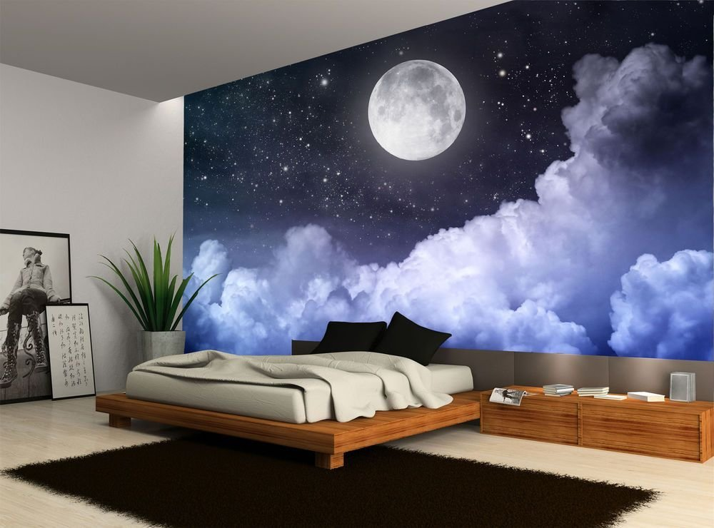 Best Details About Night Sky Moon Clouds Dark Stars Wall Mural With Pictures