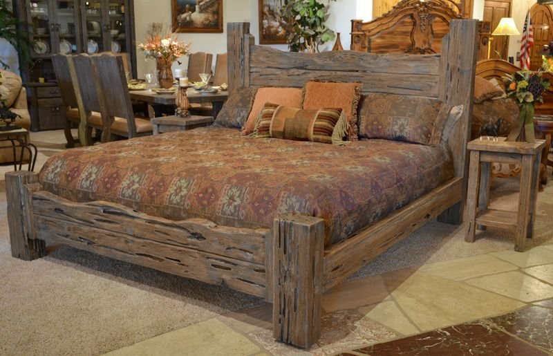 Best Rustic King Bed Custom Western Style Wood Bed Brs178A With Pictures