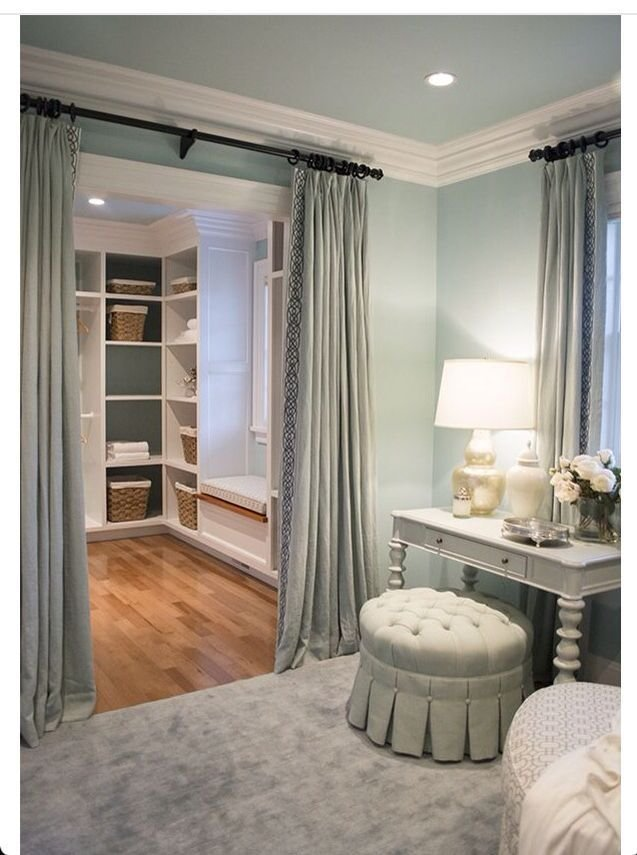 Best Curtains Instead Of Door Into Master Closet … House In 2019… With Pictures