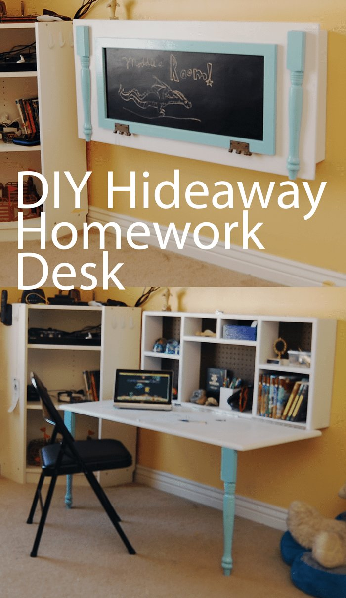 Best Diy Kids Homework Hideaway Wall Desk Furniture Wall With Pictures