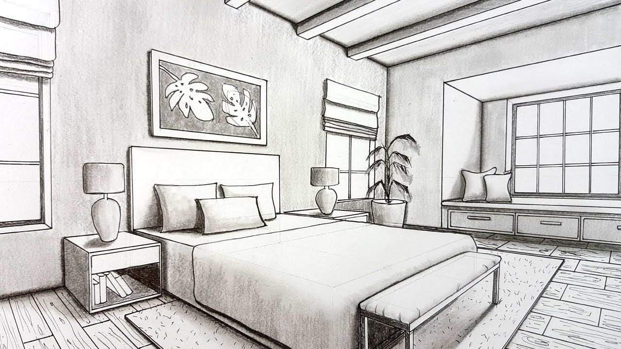 Best Drawing A Bedroom In Two Point Perspective Timelapse With Pictures