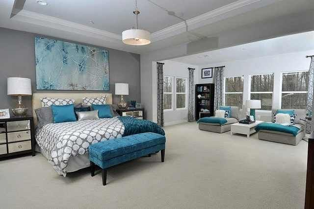 Best Gray White And Pops Of Teal Bedroom Idea Home Decor With Pictures