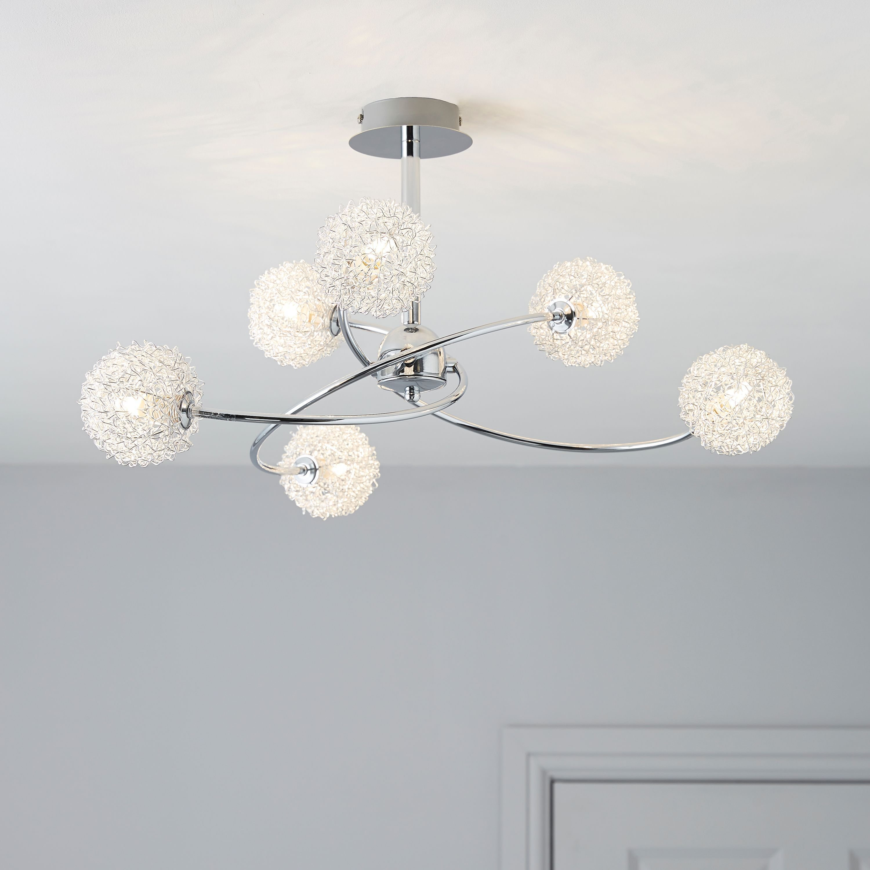 Best Pallas Chrome Effect 6 Lamp Pendant Ceiling Light With Pictures