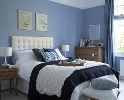 Best Blue Bedroom Decoration With Beige Accent On Wall With Pictures