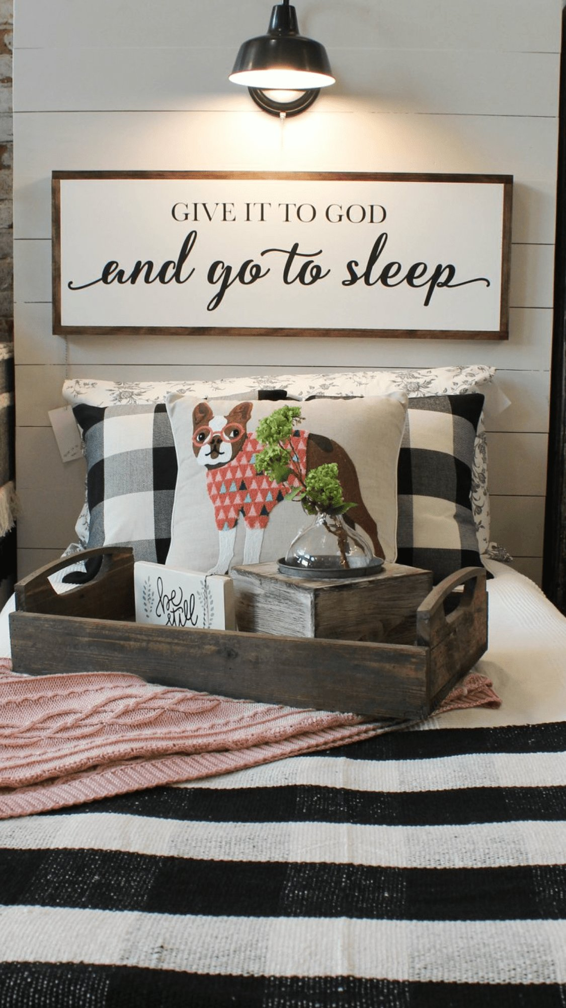 Best Over The Bed Sign With Buffalo Check And Cute Dog Pillow With Pictures