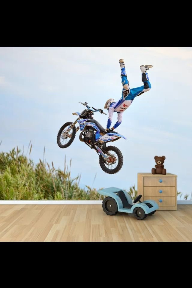 Best Motocross Wall Mural Free Style Bedroom Wallpaper With Pictures