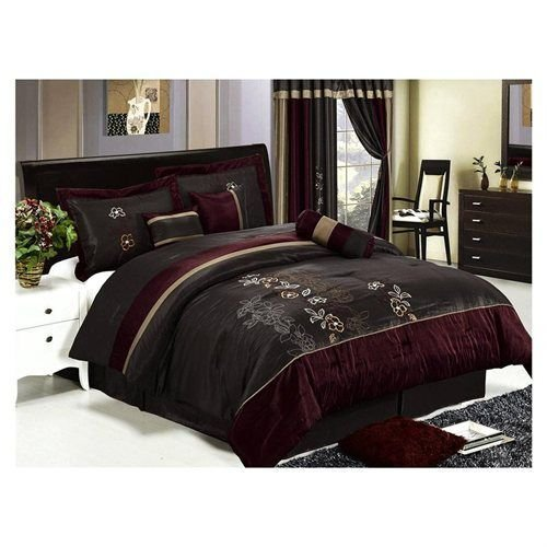 Best 7 Pcs Luxury Embroidery Floral Comforter Set Bed In A Bag With Pictures