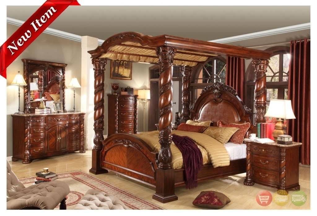 Best Castillo De Cullera Cherry Queen Size Canopy Bedroom Set Canopy Bedroom Sets Canopy Bedroom With Pictures