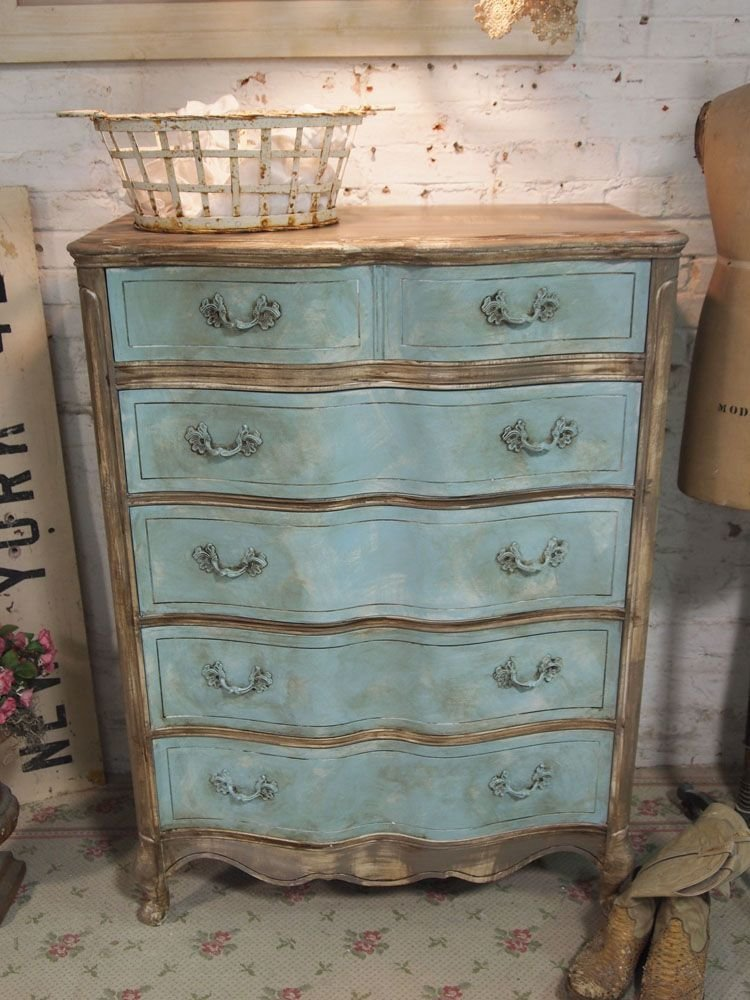 Best Painted Cottage Chic Shabby Aqua French Dresser The With Pictures