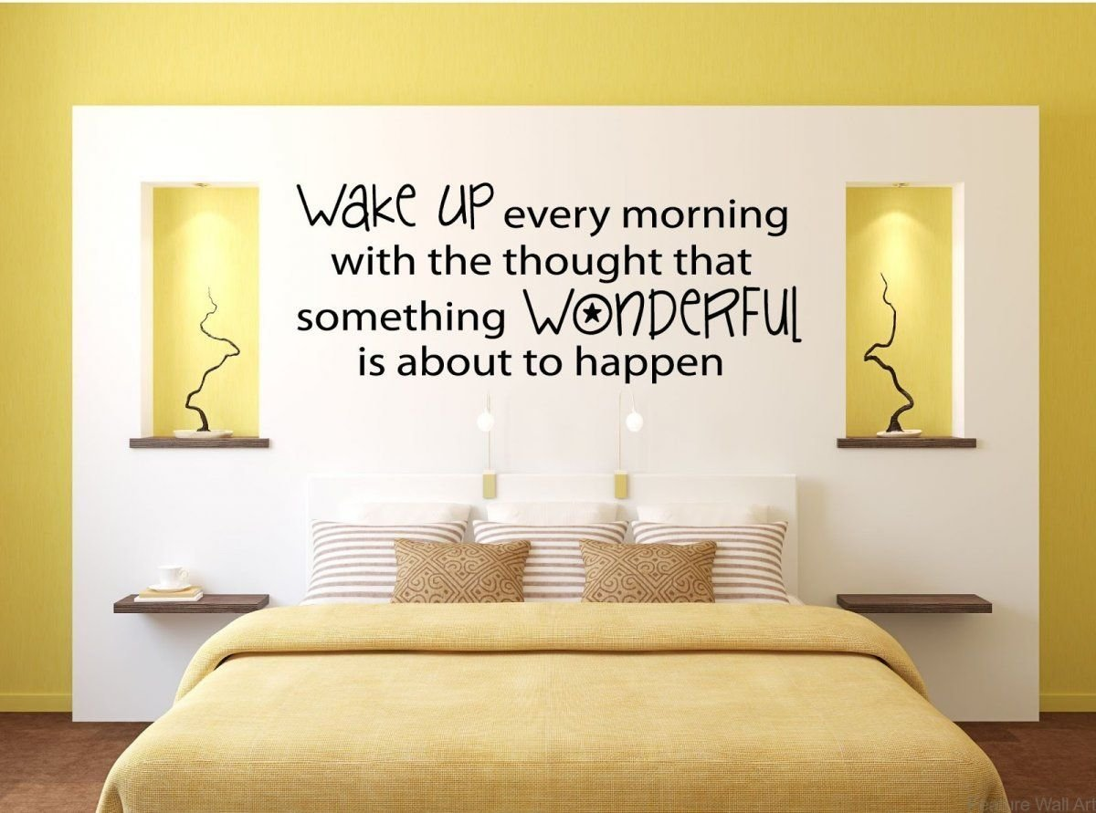 Best Minimalist Yellow Bedroom With Motivating Quote Wall With Pictures