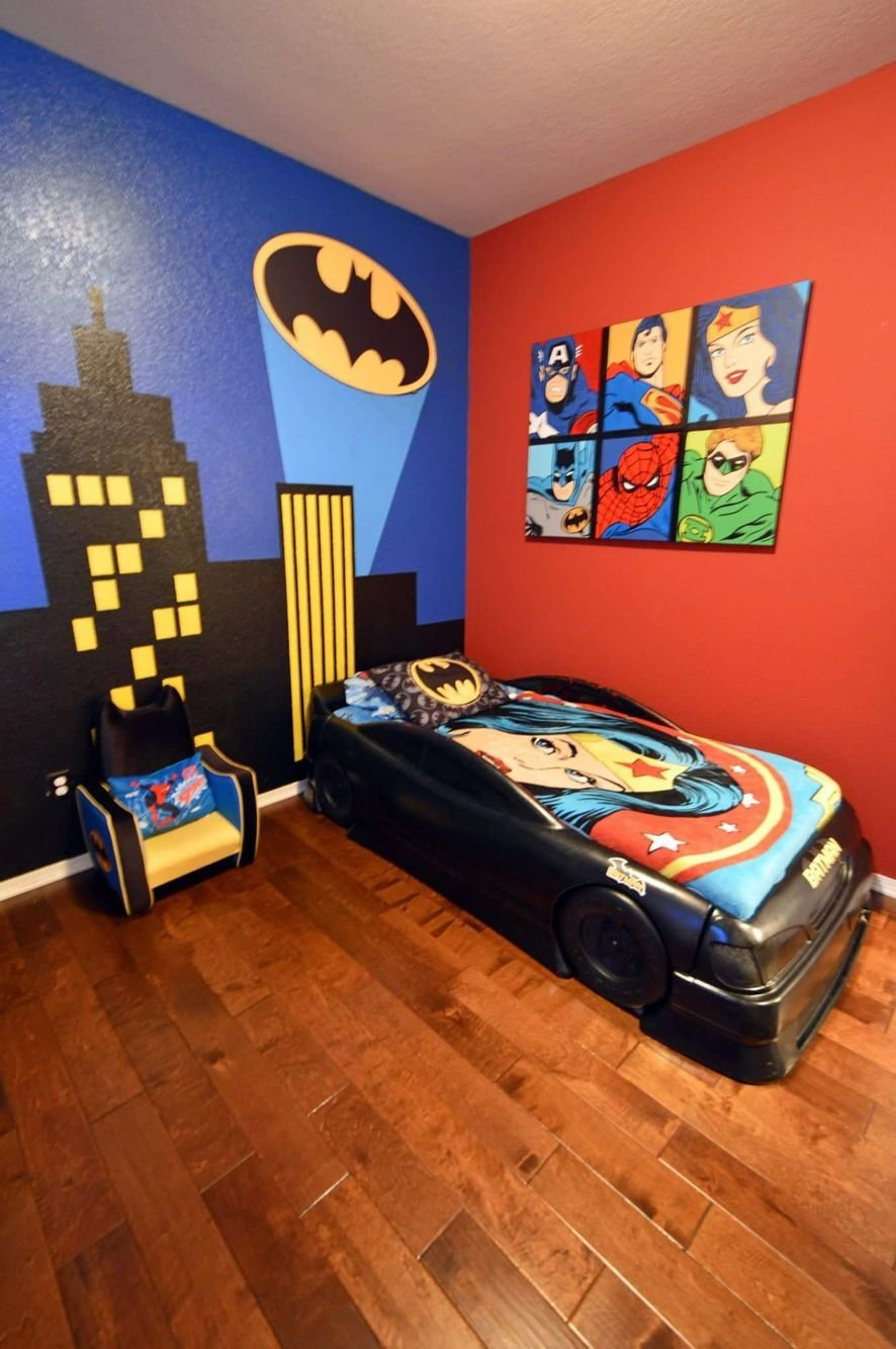 Best Boy S Batman Superhero Themed Room With Bat Signal Over With Pictures