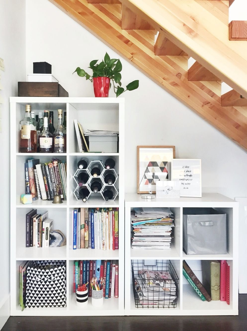 Best Space Saving Storage Under The Stairs Ikea Kallax System With Pictures