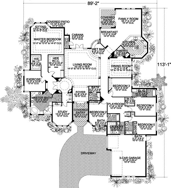 Best Florida Style House Plans 5131 Square Foot Home 1 Story 5 Bedroom And 4 Bath 3 Garage With Pictures