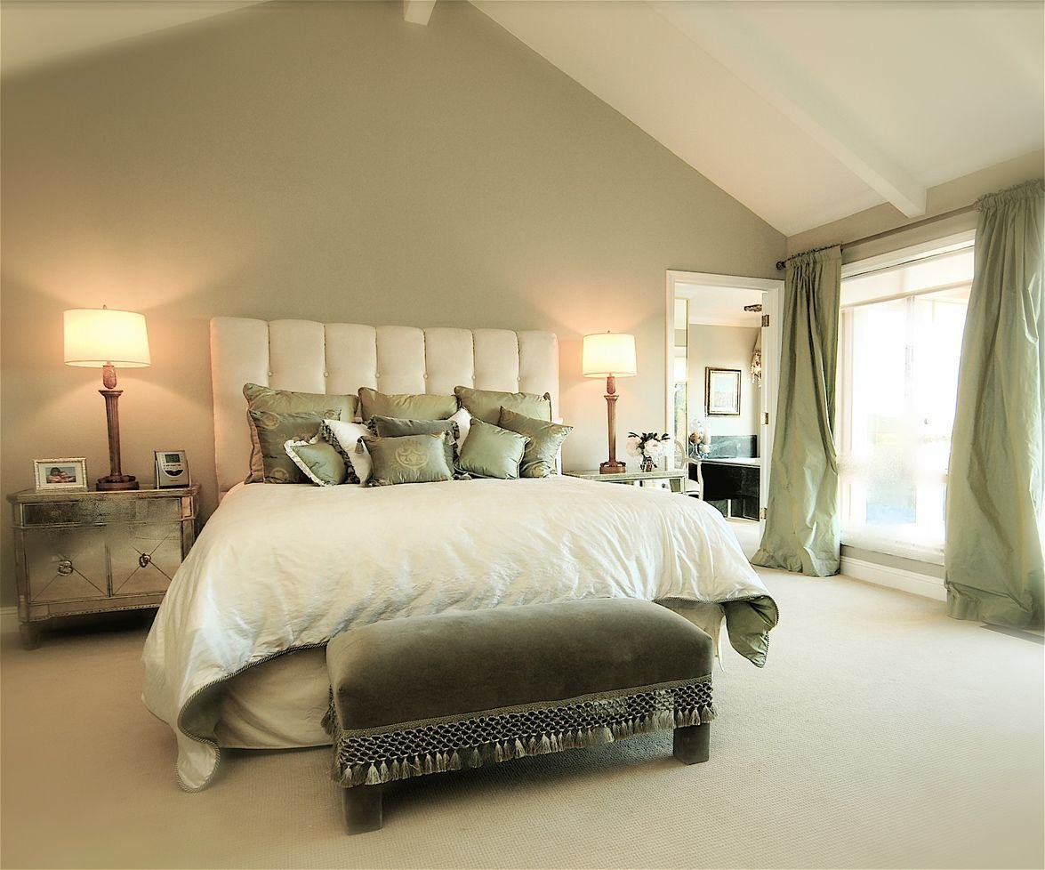 Best Sage Green Accent Wall Behind The All White Bed With With Pictures