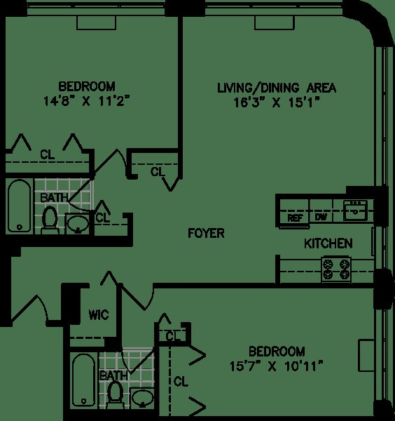 Best Studio One And Two Bedroom Apartment Floor Plans For With Pictures