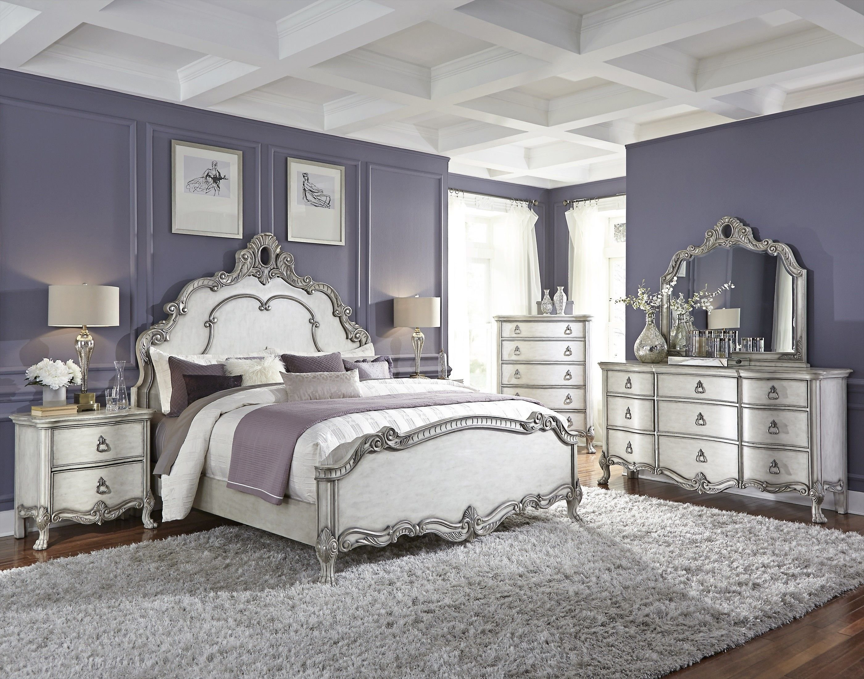 Best Traditional Antique White And Silver Bedroom Bedrooms With Pictures