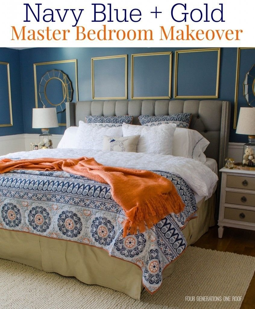 Best Pics Photos Navy Blue White And Gold Bedroom Color With Pictures